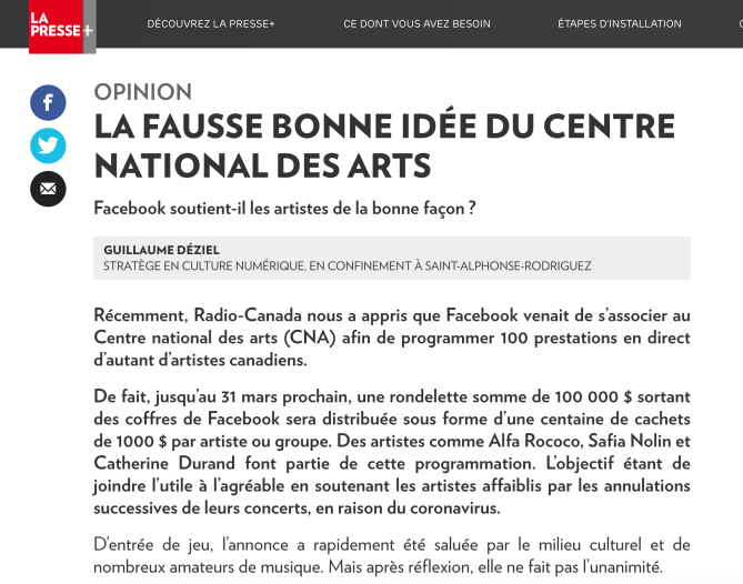 2020-03-29-La-Presse-Plus-Guillaume-Déziel-la-fausse-bonne-idée-du-centre-national-des-arts-du-canada-facebook-streaming